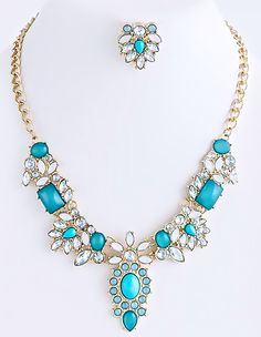 Acapulco Jewel Drop Necklace Set Turquoise
