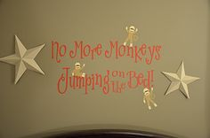 No More Monkeys Jumping on the Bed with Sock Monkeys  Gray Red white nursery decor