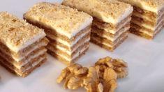 Ořechové řezy se také skvěle hodí na váš sváteční stůl. Ingredience: těsto: 6 vaječných bílků 200 g mletých vlašských ořechů 200 g krystalového cukru špetka mleté skořice špetka soli krém: 400 ml mléka 1 bal. vanilkového pudingu 150 g másla 100 g moučkového cukru Na ozdobu: 50 g mletých ořechů postup přípravy najdete na druhé … Sweet Desserts, Dessert Recipes, Low Carb Recipes, Cooking Recipes, Vanilla Cake, Food And Drink, Sweets, Breakfast, Bakken