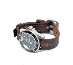 Handmade Leather Watch Strap For 20 mm Watch Model From Vintage Swiss Ammo Belt / FREE Shipping by mysunnystore. Explore more products on http://mysunnystore.etsy.com