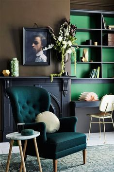 Pantone 2017 Color Greenery, green interior decor 2017 trends, green living room, elegant interior decor