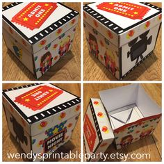 INSTANT DOWNLOAD - Printable By You - Children's Movie Themed Cupcake Box with holder /Favor Box  (DIY)- Dimensions /description in listing by WendysPrintableParty on Etsy