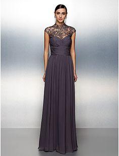 Formeller Abend Kleid Chiffon - A-Linie - bodenlang - Stehkragen – USD $ 129.99