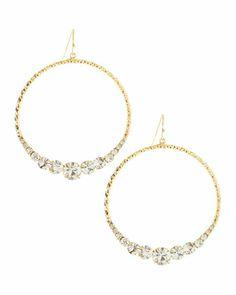R.J. Graziano Rhinestone-Center Textured Hoop Earrings - Neiman Marcus Last Call