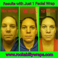 Bam! Check out Jen's results after just 1 Facial wrap! Amazing!  Bet you don't get this kinda results from those expensive spa treatments; and forget all those overpriced cosmetics and lotions! You can't beat our quality, our life changing results, or our prices.  Order yours today and get 4/$59  www.rockabillywraps.com  #Rockabillywraps #facial #facials #face #face_lift #eyes #lips #eyelashes #wrinkles #crowsfeet #lips #lipstick #aging #aginggracefully #salon #foundation #grandma #mom…