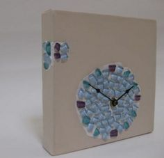 Part of the Elements Collection, a working clock mounted on canvas and embellished with glass. Harmony Design, Handmade Clocks, Studio, Canvas, Glass, How To Make, Crafts, Painting, Collection