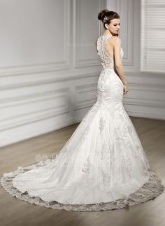 Trumpet/Mermaid V-neck Chapel Train Lace Wedding Dress With Beading Sequins (002056601)
