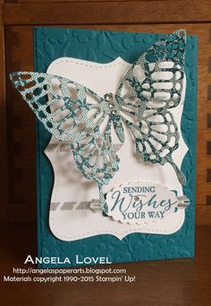 Features the Stampin' Up! Butterfly Basics stamp set, Butterflies Thinlet dies & Spring Flowers TIEF. Made by Angela Lovel @ http://www.angelaspaperarts.stampinup.net/