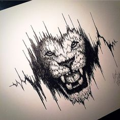 "Another awesome sound wave design by the talented @coatesart, entitled ""heart of the roaring lion"" @coatesart has an awesome style that is well worth checking out if you haven't already. Be sure to stop by his page. Admin: @richburnsred_art"