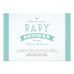"Modern Mint Dotted Baby Shower Photo Invite 5"" X 7"" Invitation Card"