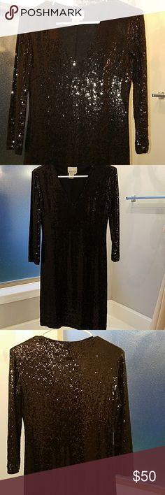Black sequin party dress 3/4 sleeve, v neck, black sequin party dress. Worn once for holiday party Donna Morgan Dresses Long Sleeve