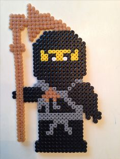 Hama - Ninjago Cole - New Ideas Melty Bead Patterns, Hama Beads Patterns, Beading Patterns, Perler Beads, Fuse Beads, Bead Crafts, Diy And Crafts, Crafts For Kids, Ninjago Cole