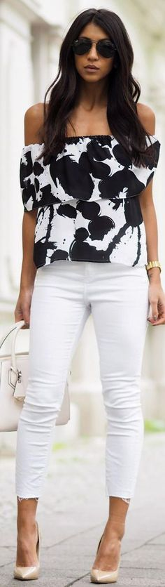 Off Shoulder Printed Top with white jeans