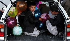 Afghan Boys Travelling from Kabul to Salang Pass for Eid al-Fitr