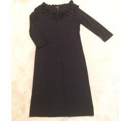 Talbots Black Dress Talbots Black Sheath Dress with Black Flower Detail on the necklineNO TRADES NO HOLDS LOWBALL OFFERS WILL BE IGNORED Talbots Dresses Midi