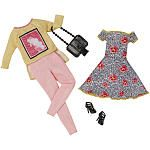 """Barbie Fashions - Yellow Long Sleeve Stamp Pattern Shirt with Pink Pants, and Pink Flower Skirt -  Mattel - Toys""""R""""Us"""