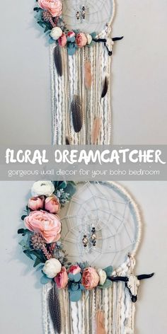 Omg, boho chic is the absolute perfect description for this dreamcatcher! Boho Dreamcatcher, Boho Wall Decor, Floral Dream catcher, Dream catcher Wall Hanging, Nursery Wall Hanging, Bohemian Dreamcatcher  #handmade #dreamcatcher #bohochic #bohobedroom #bedroomdecor #diydecor #ad
