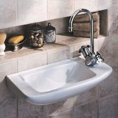 Narrow Wall-Hung Lavatory Basin, inset shelf
