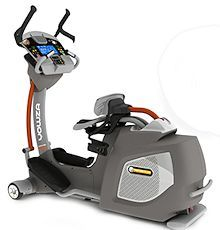 The Yowza Fitness Naples is an elliptical trainer that allows you to sit as you exercise.  It comes with their patented Cardio Core Training, which focuses your upper body workout on your abs.