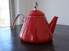 Mid Century Modern Red and Chrome Enamel Chantal by veranellies, $47.00