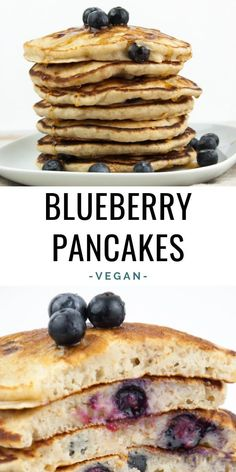 Vegan Blueberry Pancakes - I don't think there is anything better than a stack of fluffy vegan blueberry pancakes for breakfast on weekends! They are super quick & easy to make - done in 30 minutes! | ElephantasticVegan.com #vegan #pancakes #breakfast