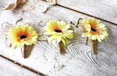 Rustic boutonnieres Sunflower/ Gerbera Baby breath boutonholles Groom yelow flower Rustic wedding set of 3 ready to ship by FlowerBootsLigaAsere on Etsy