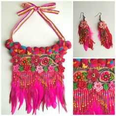 D'inspiration ethnique perles fleurs colorées collier, broderie, crochet, peinture dimensionnelle, rubans colorés tissés, tzigane, tribal, art populaire