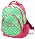 "Monogrammed backpack can be personalized with your name or monogram.  This styling backpack has a padded compartment for your tablet plus 3 large pockets for storage.  Zipper closure, padded shoulder straps.  Inside lining.  Full size backpack measures about 17"" x 13"" x 8"" to hold lots of stuff.  Made of easy wear polyester and reinforced.  Coordinate with matching monogrammed lunchbox to complete your back to school look!"