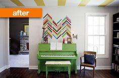 Green piano and shim wall art...love.