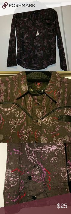 NWT Twenty X western shirt size large NWT Beautiful black with purple and pink designs. Black button down snaps. Made by Twenty X, got as a gift and it was never worn. twenty X Tops Button Down Shirts