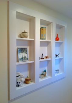Bathroom Wall Storage Shelves - Home Decor Designs Bathroom Wall Storage, Wall Storage Shelves, Built In Shelves, Glass Shelves, Display Shelves, Recessed Shelves, Basement Built Ins, Wall Display Case, Shallow Shelves