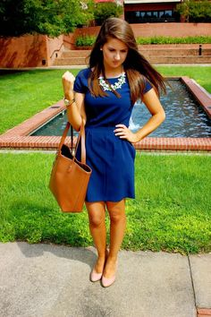 Bright blue dress with nude flats for work! Pair with a white necklace and nice tote bag this spring!