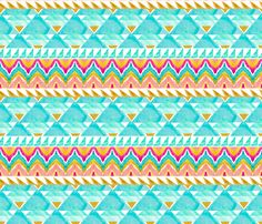 Tribal Ikat in Watercolor fabric by emilysanford on Spoonflower - custom fabric