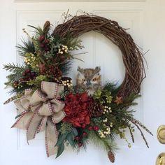 Winter Wreath-Owl Wreath-Christmas Wreath-Country Wreath-Regina's Garden Owl Wreath-Rustic Wreath-Evergreen Wreath by ReginasGarden on Etsy Owl Wreaths, Wreath Crafts, Holiday Wreaths, Holiday Crafts, Christmas Decorations, Winter Wreaths, Wreath Ideas, Wreath Fall, Grapevine Wreath