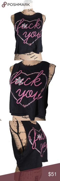 "✨ Distressed faded Sparkly ""F*CK YOU"" crop top ✨🌟 This shirt is EXTRA SPARKLY! 🌟✨  This cute ""F*CK YOU"" distressed and faded crop top is so super cute. Made of a thin vintage like material, this top sparkles quite an it (which cannot be seen in these photos). Very lightweight, and very unique.   ‼️THIS SHIRT IS ***NOT*** UNIF, FOR LISTING PURPOSES ONLY‼️ #unif #wildfox #hellzbellz #fckyou #distressed #wornout #faded #sparkly #glitter #bling #embellishment #rhinestone #pink  #heart #croptop…"