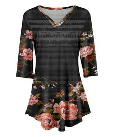 Gray & Red Floral V-Neck Tunic - Plus Too #zulily #zulilyfinds