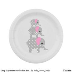 Gray Elephants Stacked on Each Other Paper Plates