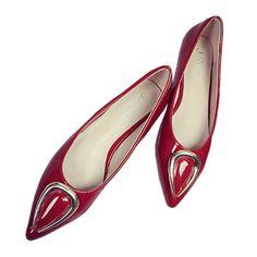 Ox Horn Metal Pointed Low-cut Women Thin Shoes red 35
