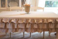 .ruffled tablecloth.