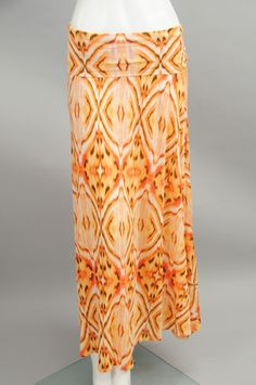 Coral Abstract & Tie Dye Foldover Maxi Skirt #sageclothing
