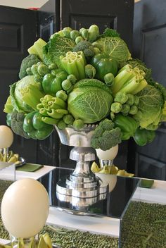 Summer style!! GREEN AND WHITE AND SILVER!! UTIMATE GREEN VEGETABLE ARRANGEMENT CENTERPIECE DISPLAY!! Wow!! Cabbage, celery, broccoli - just a wonderful display of summer vegetable bounty!! For amazing summer parties, showers, celebrations, receptions, graduations, brunches, lunches -- and summer wedding!!