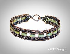 KALTY Designs original - oxidised copper wire weave bangle.