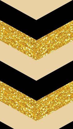Gold, black, beige chevron iPhone Background
