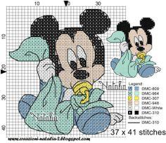 A través de Tair A:C:. Disney Cross Stitch Patterns, Cross Stitch For Kids, Cross Stitch Baby, Cross Stitch Kits, Cross Stitch Charts, Cross Stitch Designs, Disney Stitch, Miki Mouse, Crochet Cross