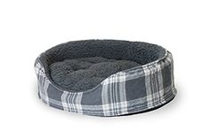 Furhaven Pet NAP Oval Terry Fleece and Plaid Bed for Dog ...
