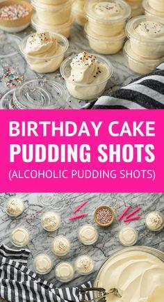 Funfetti Birthday Cake Pudding Shots -- These fun & festive birthday cake pudding shots are heavenly Pudding Shot Recipes, Jello Pudding Shots, Jello Shot Recipes, Alcohol Drink Recipes, Dessert Recipes, Desserts With Alcohol, Top Recipes, Baking Recipes, Birthday Cake Shots