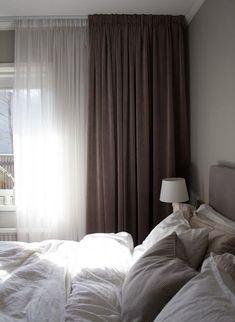 Modern Bedroom Design, Home Interior Design, Modern Design, Modern Bedrooms, Bedroom Colors, Home Decor Bedroom, Brown Bedroom Curtains, Grey Curtains, Bedroom Ideas