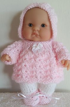 Berenguer Baby Doll Knit Pattern Angel Top Pram Set for 8 inch lots to love baby doll instant downlo Knitting Dolls Clothes, Crochet Doll Clothes, Knitted Doll Patterns, Knitted Dolls, Knitting Terms, Baby Knitting, Baby Clothes Patterns, Baby Patterns, Pram Sets