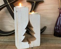 me ~ Christmas Tree Rustic Candle Holder - Advent Candle Holder - Mantle Decor Farmhouse Antique Tea Light Holders Christmas Candles Christmas Wood Crafts, Handmade Christmas Tree, Antique Christmas, Rustic Christmas, Christmas Decorations, Diy Christmas, Wood Christmas Tree, Primitive Christmas, Outdoor Christmas