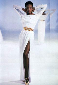 Yves Saint Laurent Rive Gauche, American Vogue, March 1989. Photograph by Arthur Elgort.